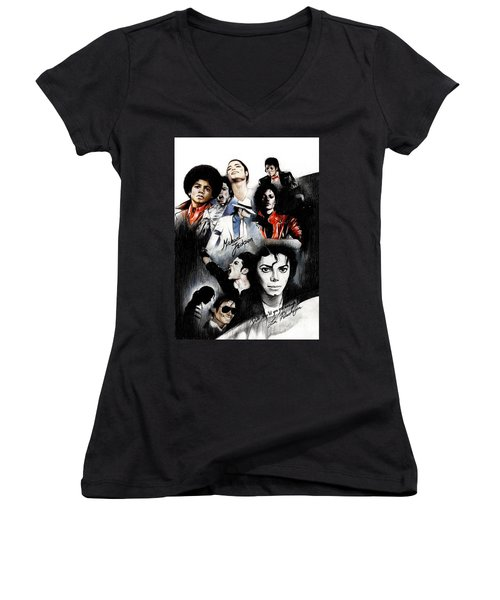 Michael Jackson - King Of Pop Women's V-Neck (Athletic Fit)