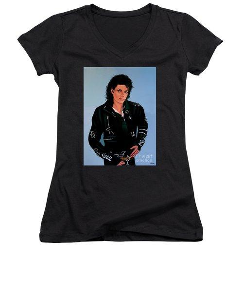 Michael Jackson Bad Women's V-Neck T-Shirt (Junior Cut)