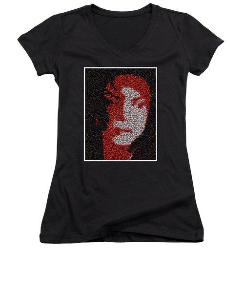 Women's V-Neck T-Shirt (Junior Cut) featuring the mixed media Michael Jackson Bottle Cap Mosaic by Paul Van Scott