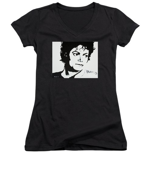 Michael Jackson Women's V-Neck T-Shirt (Junior Cut) by Katharina Filus