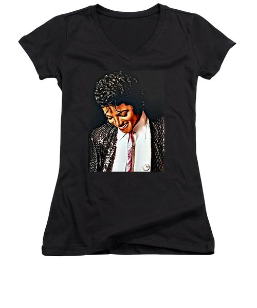 Women's V-Neck T-Shirt (Junior Cut) featuring the painting Michael Jackson The Ultimate Humanitarian by Karen Showell