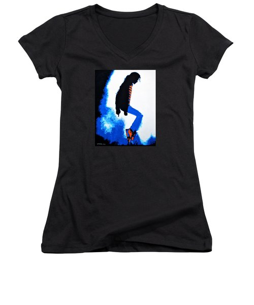 Michael Jackson Women's V-Neck (Athletic Fit)