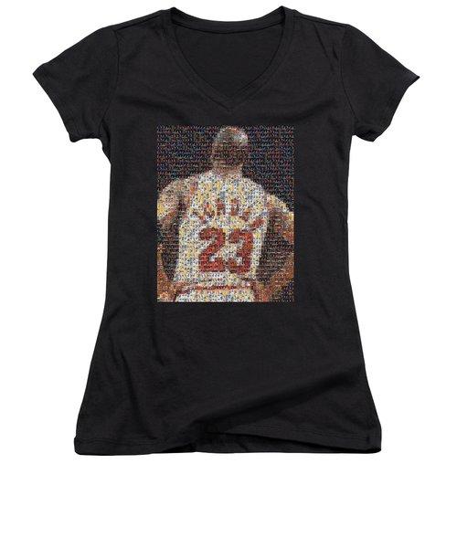 Michael Jordan Card Mosaic 2 Women's V-Neck T-Shirt (Junior Cut) by Paul Van Scott