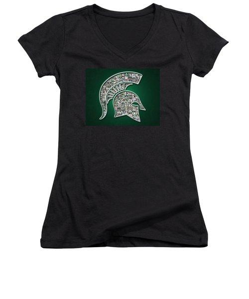 Michigan State Spartans Football Women's V-Neck T-Shirt (Junior Cut) by Fairchild Art Studio