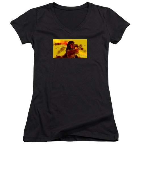 Michonne Women's V-Neck T-Shirt (Junior Cut) by David Kraig