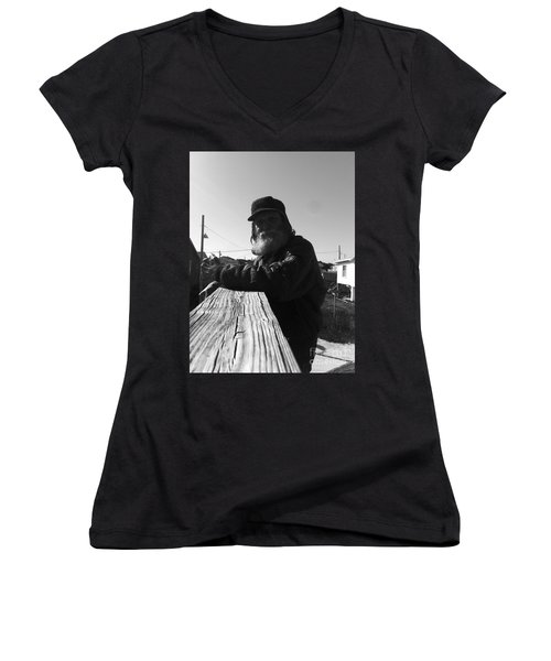 Mick Lives Across The Street Not In The Streets Women's V-Neck T-Shirt (Junior Cut) by WaLdEmAr BoRrErO