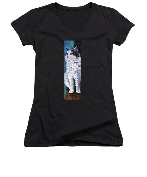 Women's V-Neck T-Shirt (Junior Cut) featuring the painting Mickey Cat by Julie Maas