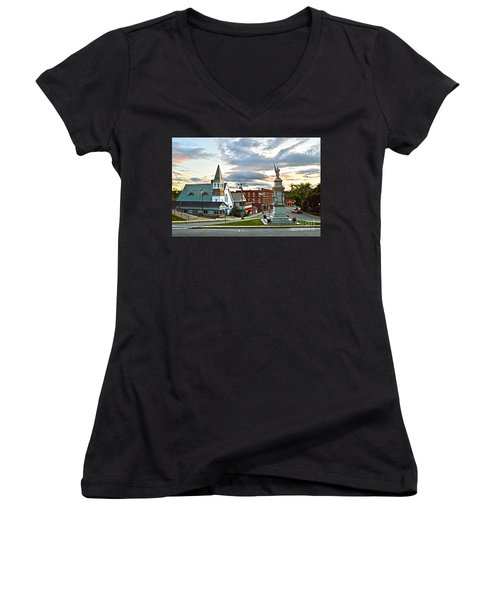 Middlebury Vermont At Sunset Women's V-Neck (Athletic Fit)