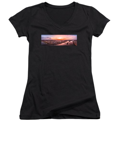 Women's V-Neck T-Shirt (Junior Cut) featuring the photograph Middletown Connecticut Sunset by Petr Hejl