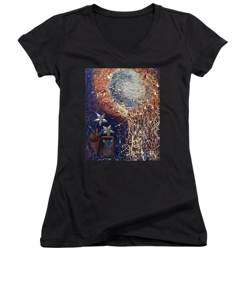 Midnight Flowers Women's V-Neck (Athletic Fit)
