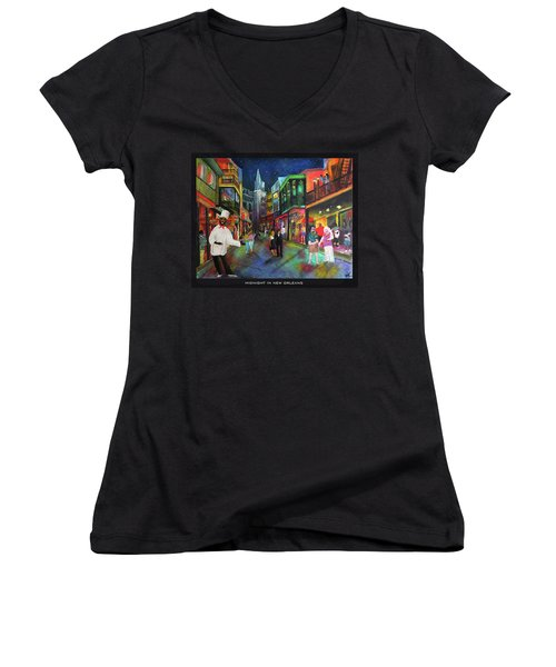 Midnight In New Orleans Women's V-Neck