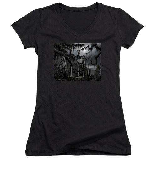 Midnight In The House Women's V-Neck T-Shirt (Junior Cut)