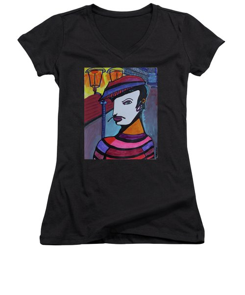 Midnight Mime Women's V-Neck (Athletic Fit)