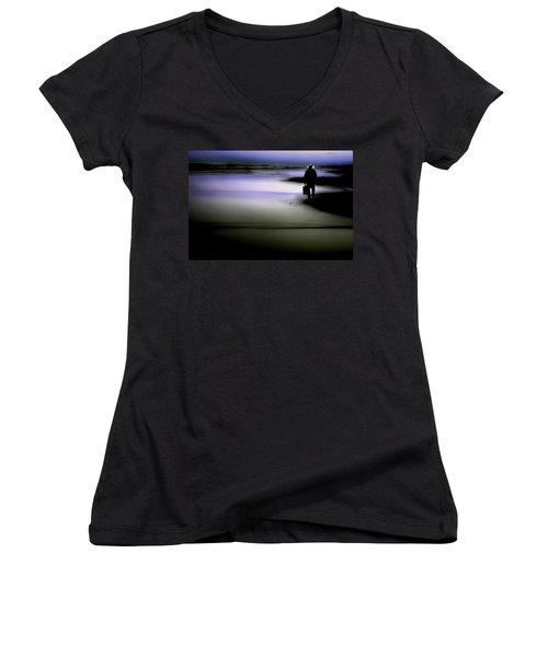 Midnight Wanderer Women's V-Neck T-Shirt (Junior Cut) by Gray  Artus