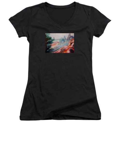 Mighty Canyon Women's V-Neck T-Shirt (Junior Cut) by Becky Chappell
