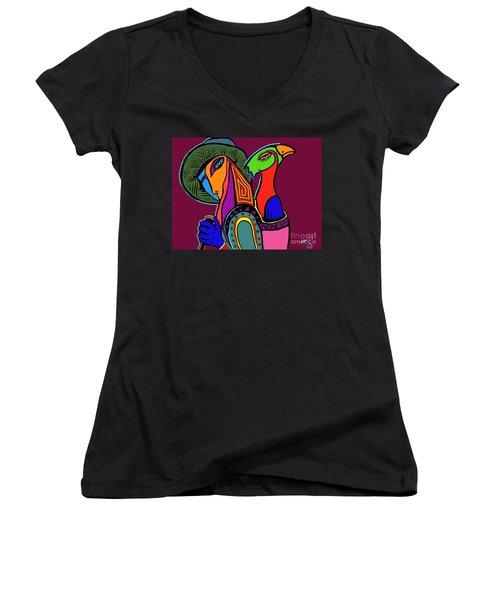 Migrating Bird Women's V-Neck T-Shirt (Junior Cut) by Hans Magden