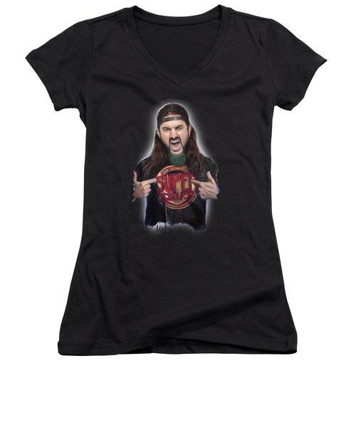 Mike Portnoy Women's V-Neck T-Shirt (Junior Cut) by Melanie D