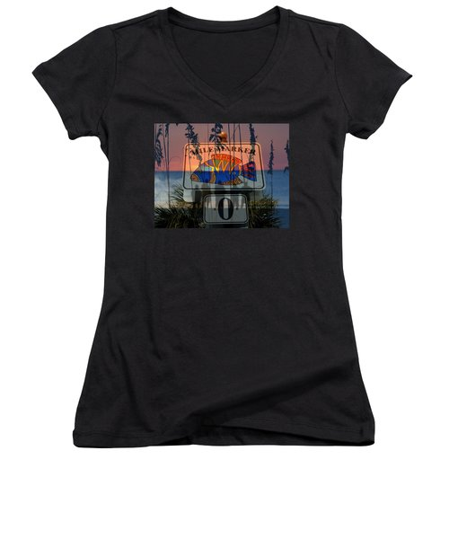 Women's V-Neck T-Shirt (Junior Cut) featuring the photograph Mile Marker 0 Sunset by David Lee Thompson