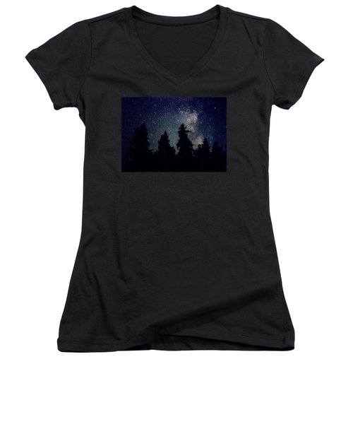 Milky Way Above Northern Forest 22 Women's V-Neck T-Shirt (Junior Cut) by Lyle Crump