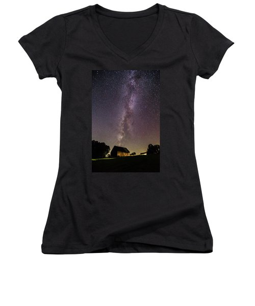 Milky Way And Barn Women's V-Neck (Athletic Fit)