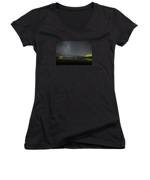 Milky Way And Northern Lights Women's V-Neck (Athletic Fit)