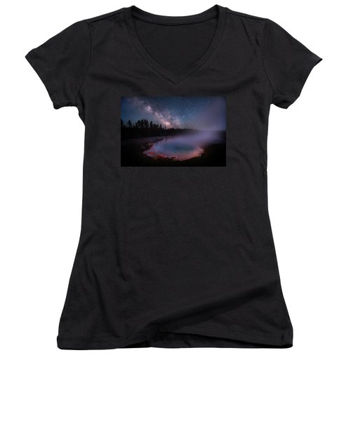 Milky Way In Yellowstone Women's V-Neck