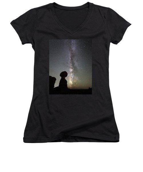 Milky Way Over Balanced Rock Women's V-Neck