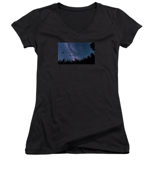 Milky Way Over Chairlift Women's V-Neck T-Shirt (Junior Cut) by Michael J Bauer