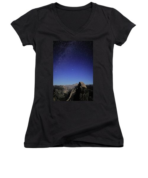 Milky Way Over Half Dome Women's V-Neck T-Shirt