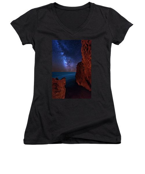 Milky Way Over Huchinson Island Beach Florida Women's V-Neck