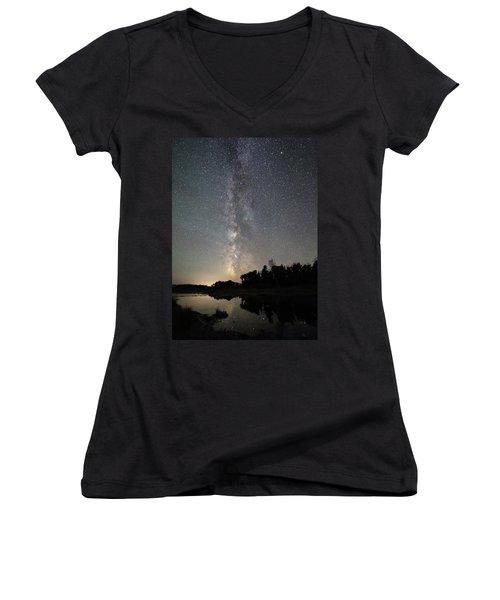 Milky Way Over Schwabacher's Landing Women's V-Neck