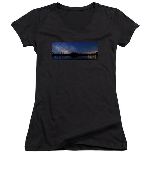 Milky Way Rising Women's V-Neck (Athletic Fit)
