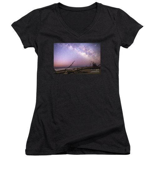 Milky Way Roots Women's V-Neck T-Shirt (Junior Cut) by Robert Loe
