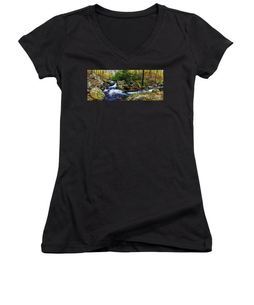 Mill Creek In Fall #4 Women's V-Neck T-Shirt