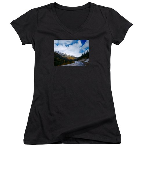 Women's V-Neck T-Shirt (Junior Cut) featuring the photograph Million Dollar Highway by Laura Ragland
