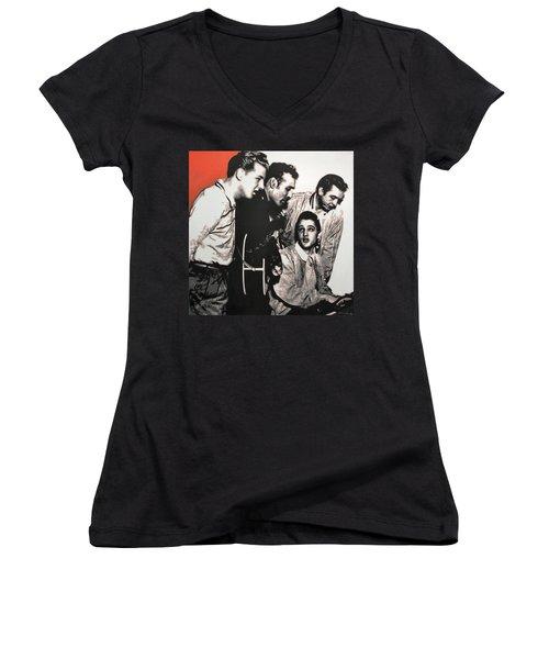 Million Dollar Quartet Women's V-Neck T-Shirt (Junior Cut) by Luis Ludzska