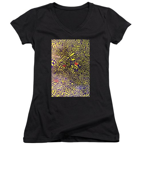 Women's V-Neck T-Shirt (Junior Cut) featuring the painting Mind Kaleidoscope 1 by Jonathon Hansen
