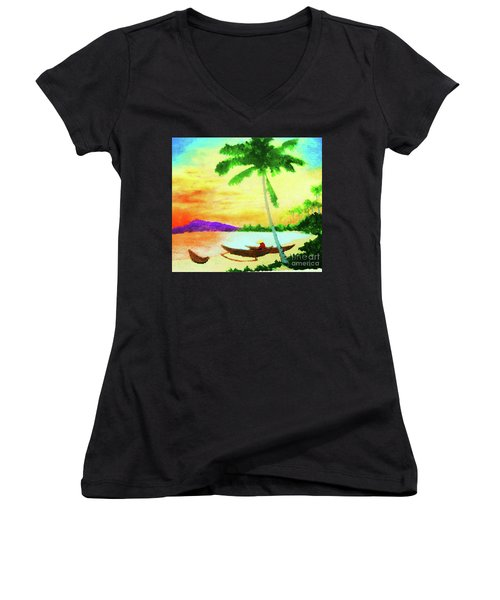Mindanao Sunset Women's V-Neck T-Shirt (Junior Cut) by Roberto Prusso