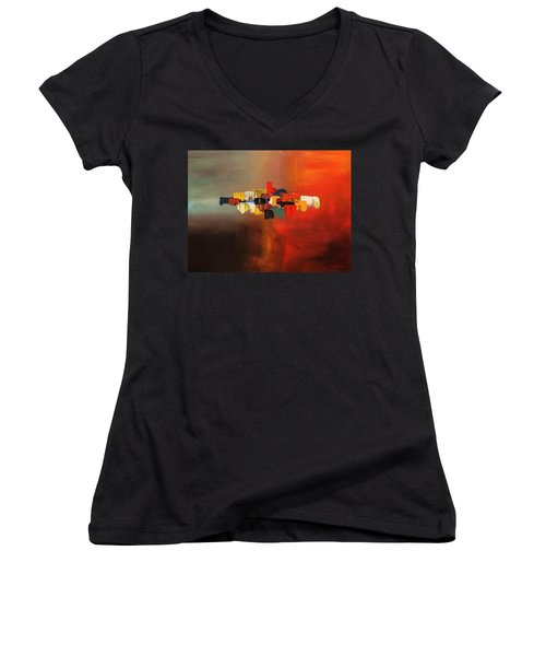 Women's V-Neck T-Shirt (Junior Cut) featuring the painting Mindful - Abstract Art by Carmen Guedez