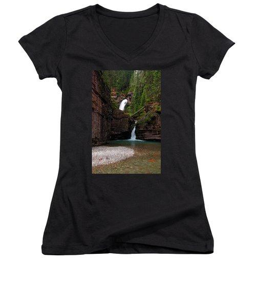 Women's V-Neck T-Shirt (Junior Cut) featuring the photograph Mineral Creek Falls by Steve Stuller