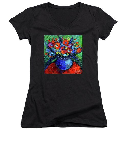 Mini Floral On Red Round Table Women's V-Neck T-Shirt