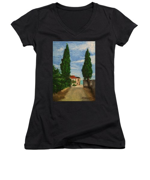 Women's V-Neck T-Shirt (Junior Cut) featuring the painting Mini Painting, Portugal by Marna Edwards Flavell