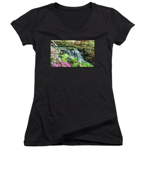 Mini Waterfall Women's V-Neck T-Shirt (Junior Cut) by Sandy Keeton