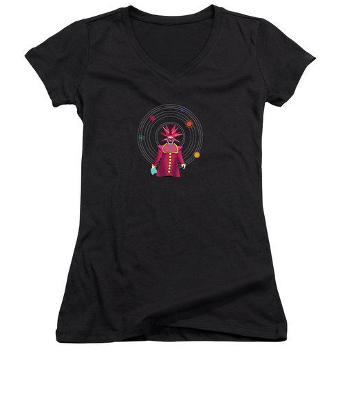 Minimal Space  Women's V-Neck T-Shirt (Junior Cut) by Mark Ashkenazi