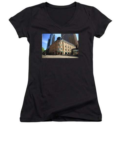 Women's V-Neck T-Shirt (Junior Cut) featuring the photograph Minneapolis Downtown by Frank Romeo