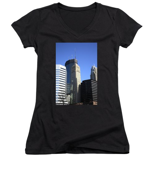 Women's V-Neck T-Shirt (Junior Cut) featuring the photograph Minneapolis Skyscrapers 12 by Frank Romeo