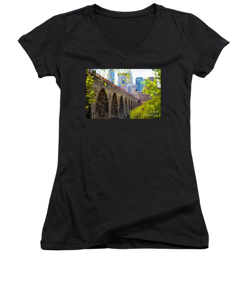Minneapolis Stone Arch Bridge Photography Seminar Women's V-Neck (Athletic Fit)
