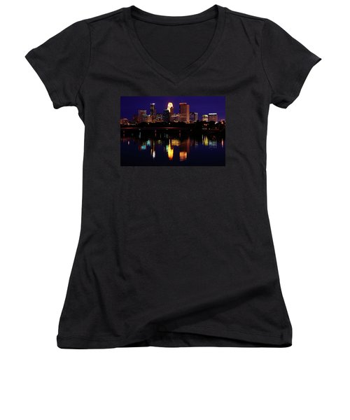 Minneapolis Twilight Women's V-Neck (Athletic Fit)