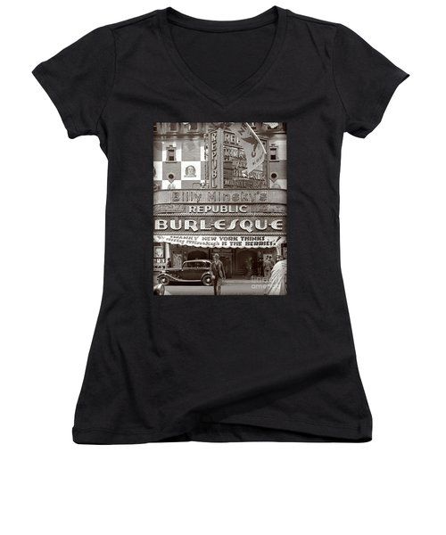 Women's V-Neck T-Shirt (Junior Cut) featuring the photograph Minsky's Burlesque Theater New York by Martin Konopacki Restoration
