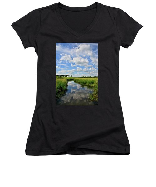 Mirror Image Of Clouds In Glacial Park Wetland Women's V-Neck (Athletic Fit)